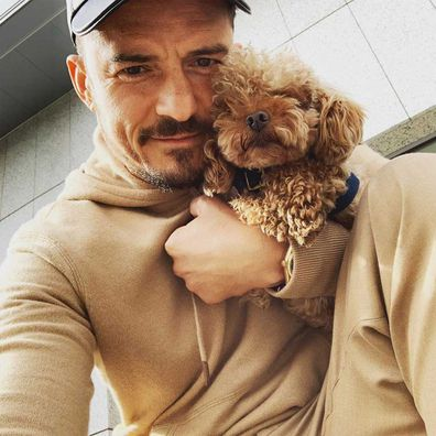 Orlando Bloom and his dog Mighty.