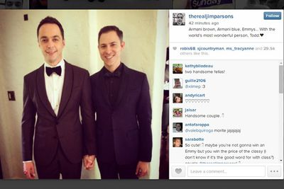 @therealjimparsons: Armani brown, Armani blue, Emmys... With the world's most wonderful person, Todd. <3