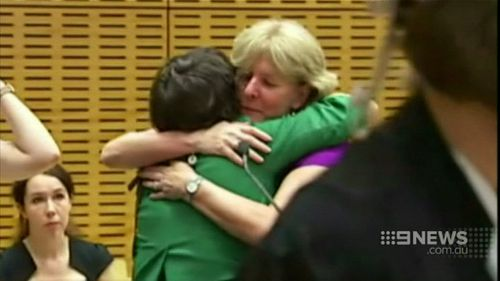 Carol Matthews with one of her supporters. (9NEWS)