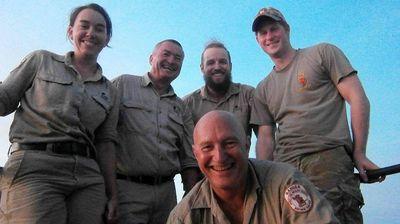 Prince Harry with Wildlife Rangers Erin Britton, Tom Nichols, Luke McLaren and Stewie Woerle.