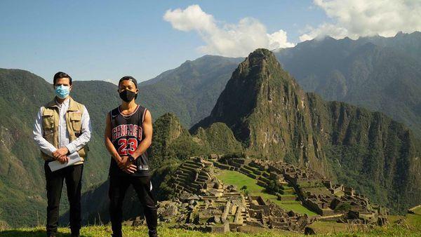 Japanese tourists Jesse Katayama pictured at Machu Picchu