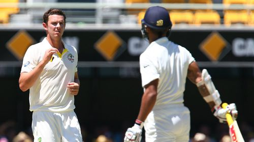Josh Hazelwood took the new ball on his Test debut today. (AAP)