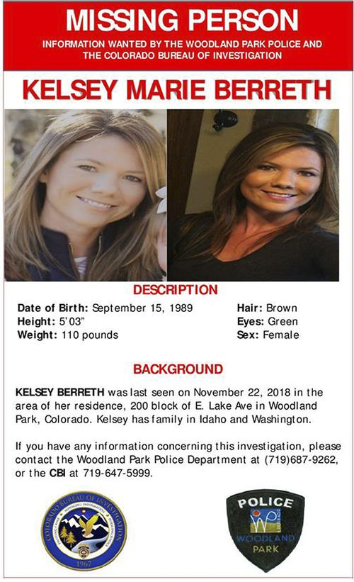 This online missing person poster provided by the Woodland Park Police Department shows Kelsey Berreth.