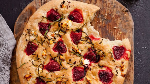 Strawberry, basil and goat's cheese foccacia recipe