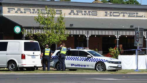 Police at the Farmers Arms Hotel in Creswick.