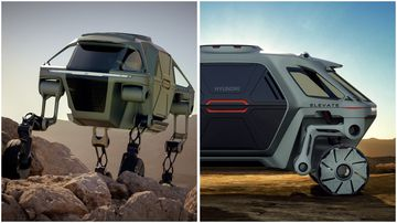 """Hyundai unveiled their new """"elevate' model that has extendable legs to help reach difficult places in emergencies."""