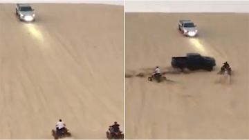 The quadbiker is believed to be at fault after riding into a racing car's path.