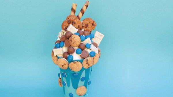 Cookie Monster 'milkshake' smash cake by Sydney Smash Cakes