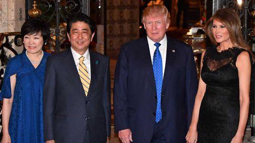 Akie Abe, Shinzo Abe, Donald Trump and Melania Trump. (AAP)