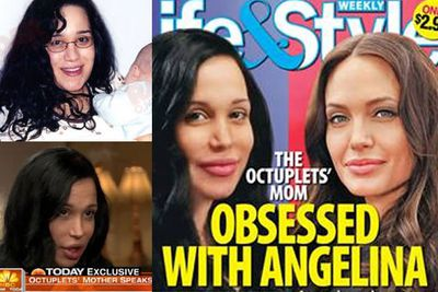 Nadya Suleman, aka 'Octomom', swears she hasn't had surgery to look like Angelina Jolie, but you've got to admit the resemblance is pretty uncanny. Also, the rumour that she used to work as a stripper under the stage name 'Angelina' is a bit of a dead giveaway!