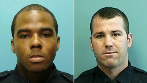 Detective Marcus Taylor (left) and Detective Daniel Hersl. A jury has been selected in the trial of Taylor and Hersl charged in one of the largest scandals in the Baltimore Police Department's history. Taylor has pleaded not guilty to charges of racketeering and robbery that he allegedly committed while he was a member of a disbanded police unit called the Gun Trace Task Force. (Baltimore Police Department via AP, File)