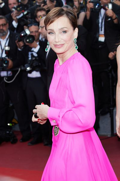 Kristin Scott Thomas, 56, at the premiere of&nbsp;<em>The Killing of a Sacred Deer</em>&nbsp;in Cannes in Schiaparelli.