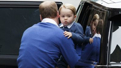 IN PICTURES: Adorable little Prince George waves to crowd as he arrives to meet his new sister (Gallery)