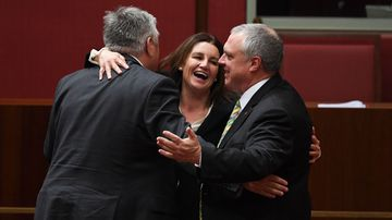 (From left) Centre Alliance Senators Rex Patrick, Independent Senator Jacqui Lambie and Centre Alliance Senator Stirling Griff react after the passing of the Government's income tax package plan in the Senate at Parliament House in Canberra