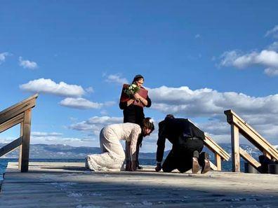 Couple drop wedding ring in Lake Tahoe