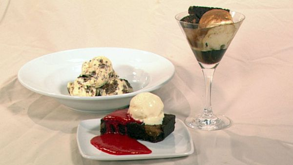Chocolate fudge brownies - served 3 ways