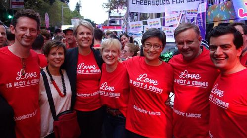 Members of the Australian Labor Party's Rainbow Labor, including federal MPs Tanya Plibersek, Penny Wong and Anthony Albanese (Twitter: @AlboMP)