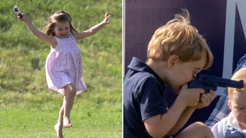 The playful royal siblings having fun in the sun yesterday. Picture: AAP