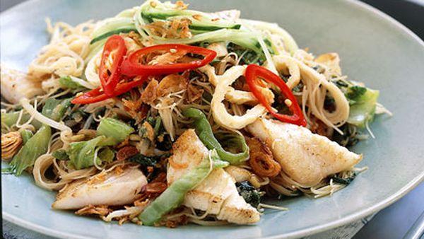 Malay-style beehoon noodles with John Dory