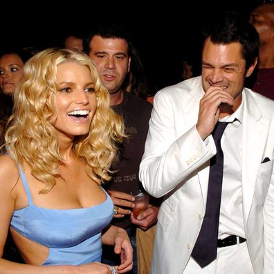 "Jessica Simpson and Johnny Knoxville during ""The Dukes of Hazzard"" Los Angeles Premiere."