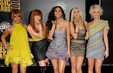 Singers Melody Thornton,  Jessica Sutta, Nicole Scherzinger, Ashley Roberts, and  Kimberly Wyatt  arrives at the 2008 American Music Awards.
