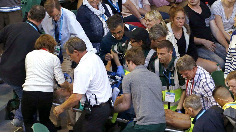 Ivanovic loses, coach taken to hospital