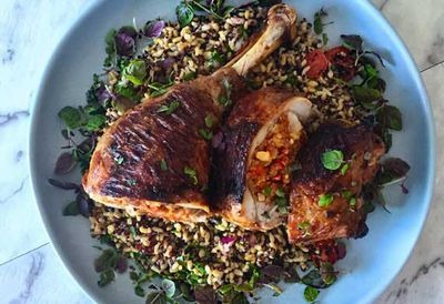 Chorizo and walnut stuffed turkey leg with quinoa salad