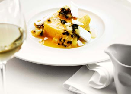 Mango and yoghurt parfait with passionfruit and pineapple salad