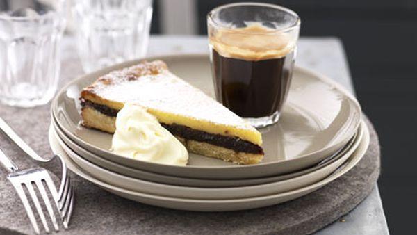 Baked custard and prune tart