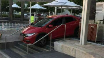 Car crashes down stairs at Elizabeth Quay