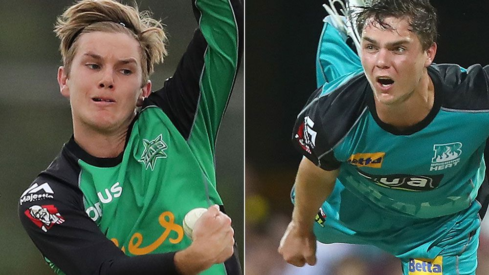 Adam Zampa and Mitchell Swepson. (Getty)