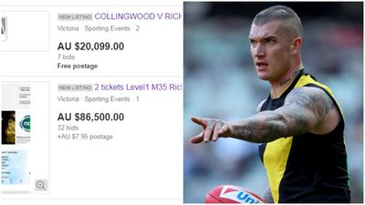 Ebay pulls $90k listing for Richmond v Collingwood tickets