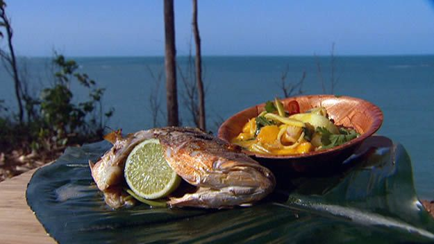 Barbecued whole snapper with green mango relish