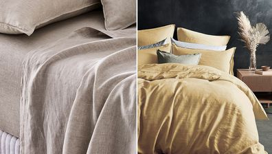 Linen sheets from Adairs and Target