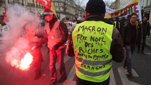 A Yellow Vest protester attends a demonstration Thursday, Dec. 19, 2019 in Paris.