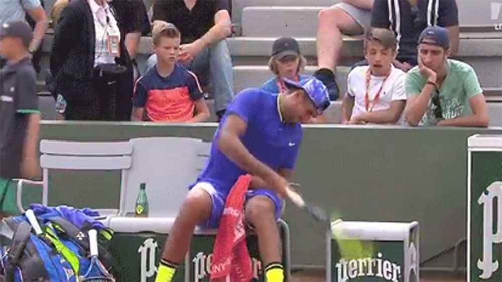 Nick Kyrgios obliterates two racquets in second round French Open loss to South African Kevin Anderson