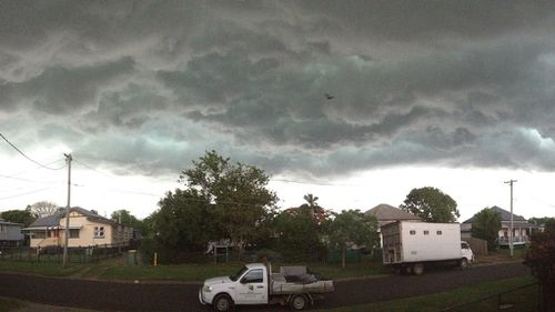 Storm clouds over Ipswich. (Supplied, Rebecca Johnson)