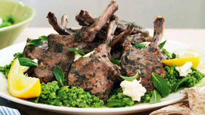 "Recipe:<a href=""http://kitchen.nine.com.au/2016/05/17/12/09/oregano-lamb-cutlets-with-ricotta-mashed-peas"" target=""_top"">Oregano lamb cutlets with ricotta & mashed peas</a>"