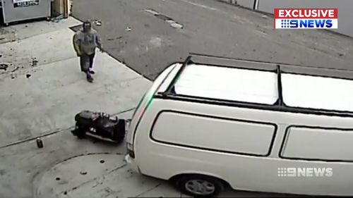The two men worked for over two hours to steal the engine. (9NEWS)