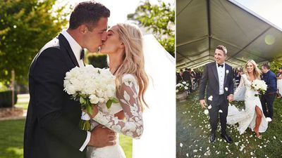 Rugby superstar Sam Burgess and Phoebe Hooke have tied the knot in a lavish ceremonyat her parent's sprawling home in Bowral, in the NSW Southern Highlands.