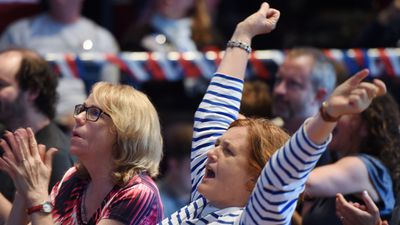 <p>Hilary Clinton supporters watch results roll in at the University of Sydney.</p> <p>(AAP)</p>