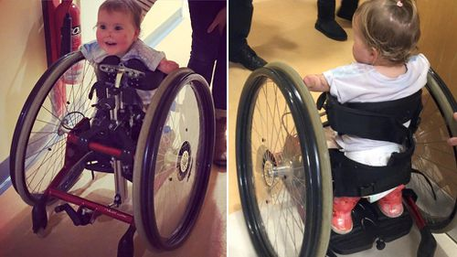 Walking frame helps UK toddler move for first time since losing all four limbs