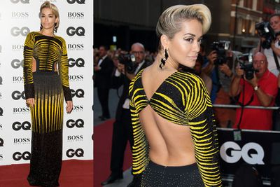 While singer Rita Ora embraced the midriff...