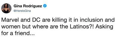 Gina Rodriguez, tweet, Marvel, DC