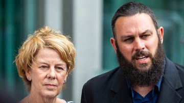 Barbara Spriggs and son Clive Spriggs speak to media after giving evidence at the aged care royal commission.