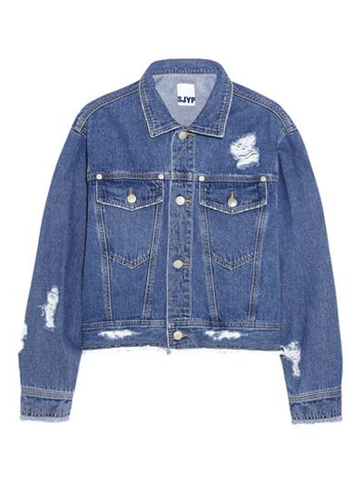 """<a href=""""http: www.net-a-porter.com="""" """"="""""""" product="""""""" 518359="""""""" steve_j_and_yoni_p="""""""" cropped-distressed-denim-jacket=""""""""> Cropped distressed denim jacket, $379.26, Steve J & Yoni P </a>"""