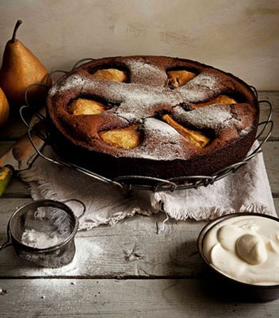 Flourless chocolate cake with pear, macadamia and creme chantilly