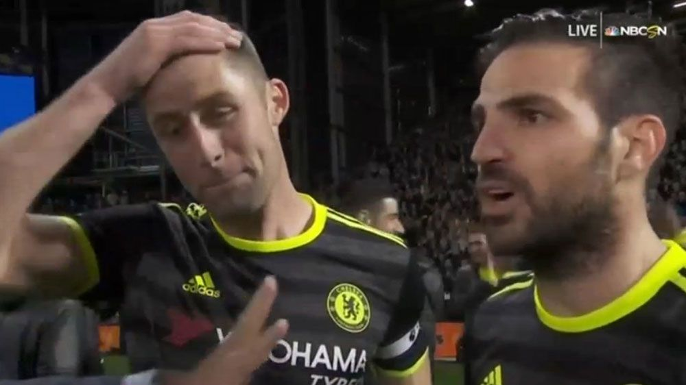 Cesc Fabregas accidentally swears on live televison after Chelsea wins EPL