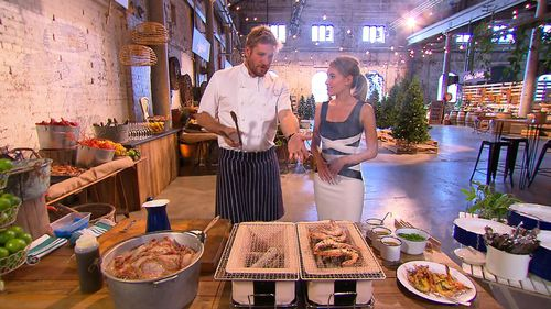 Curtis Stone grills some prawns.