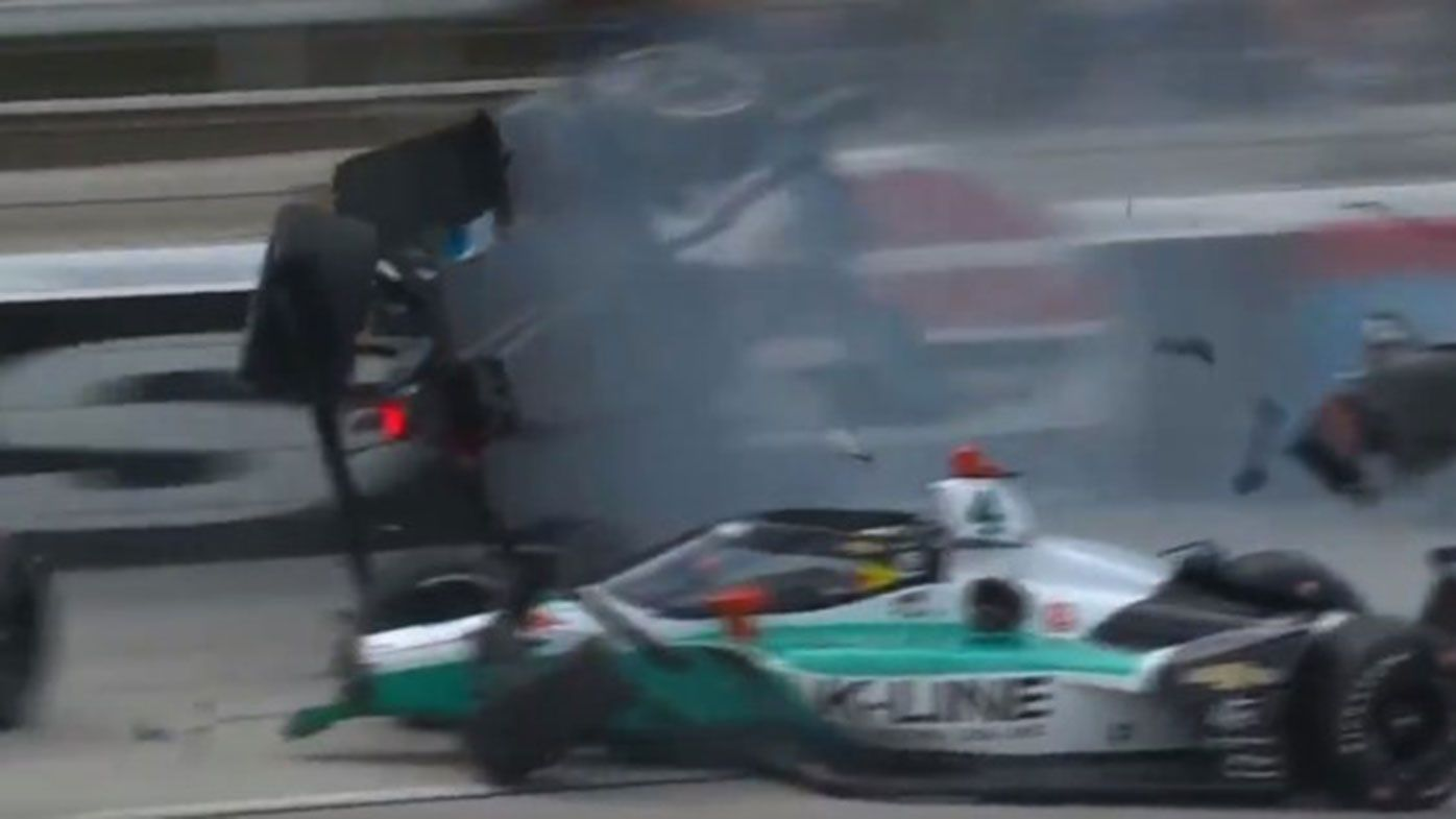 Conor Daly flies through the air after a huge crash at the start of the IndyCar race in Texas.